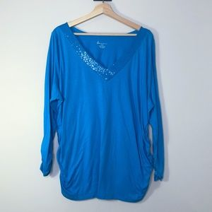 Lane Bryant Bright Blue Sequin 3/4 Sleeve Top